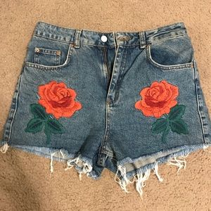 Topshop Moto Embroidered Shorts